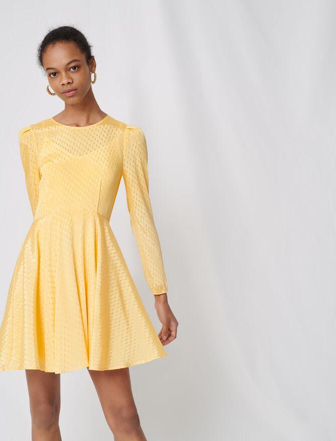 Gelbes Skaterkleid aus Jacquard - Kleider - MAJE