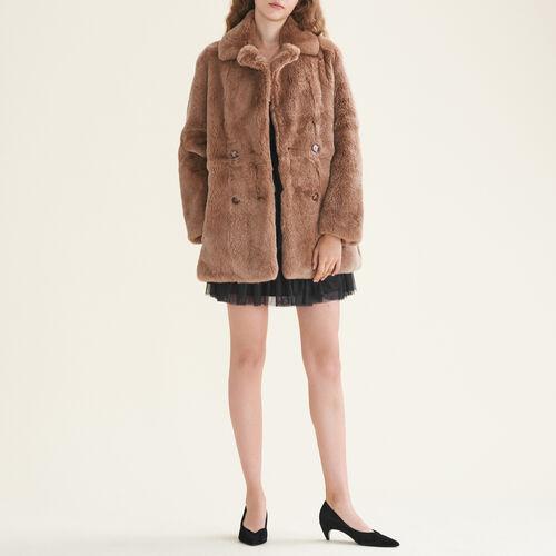 Mantel aus Kaninchenpelz : Mäntel farbe Beige