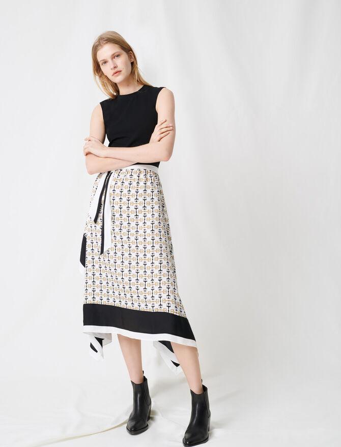 Schwarzes gemustertes Kleid im Tuchstil - Kleider - MAJE
