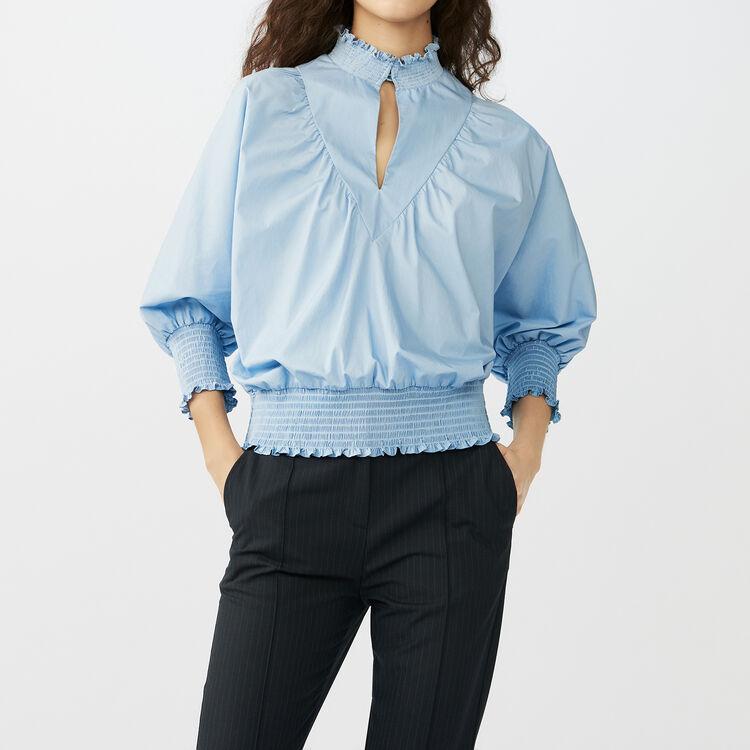 Baumwollpopeline-Bluse : Tops farbe Blau