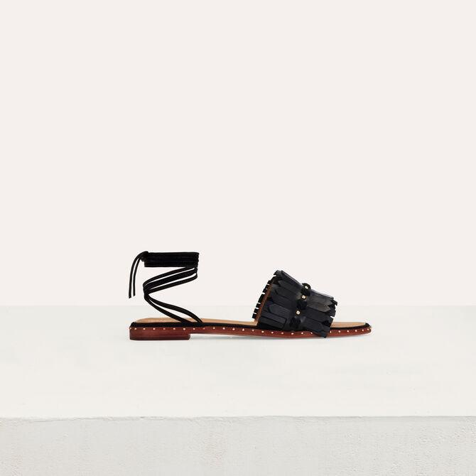 Flache Sandalen mit Schnürung -  - MAJE