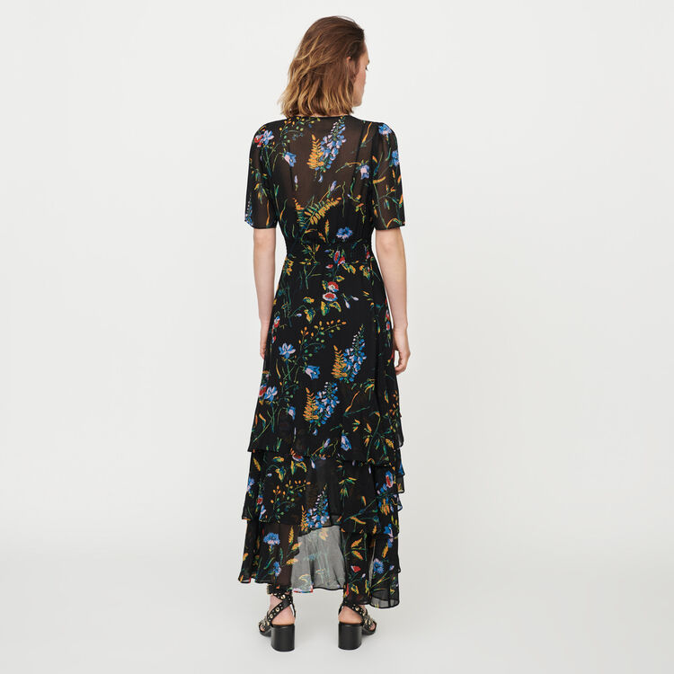 Printed long dress with ruffles : Kleider farbe SCHWARZ