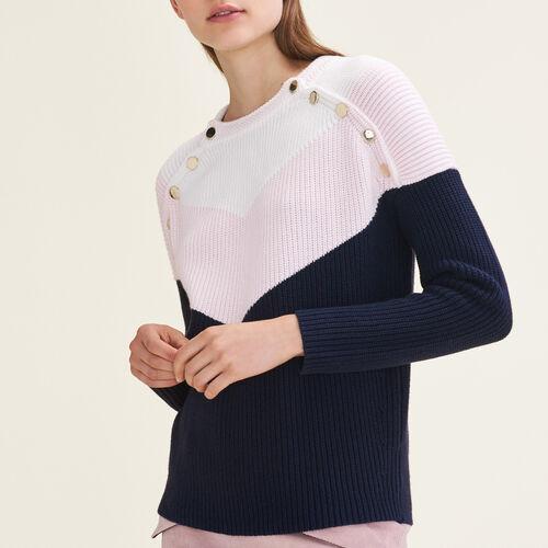 Dreifarbiger Pullover mit Druckknöpfen - Neue Kollektion - MAJE