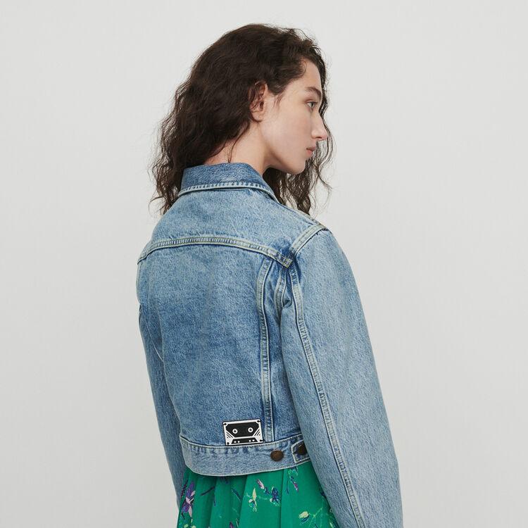 Kurze Jeansjacke im Used-Look : Blazers farbe Denim
