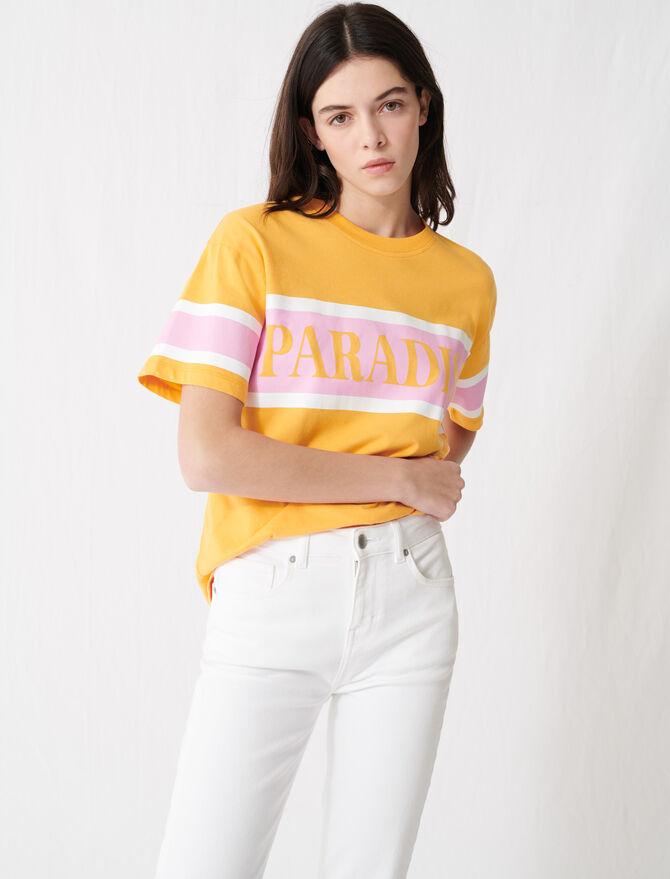 "T-Shirt mit ""Paradise""-Siebdruck - T-Shirts - MAJE"