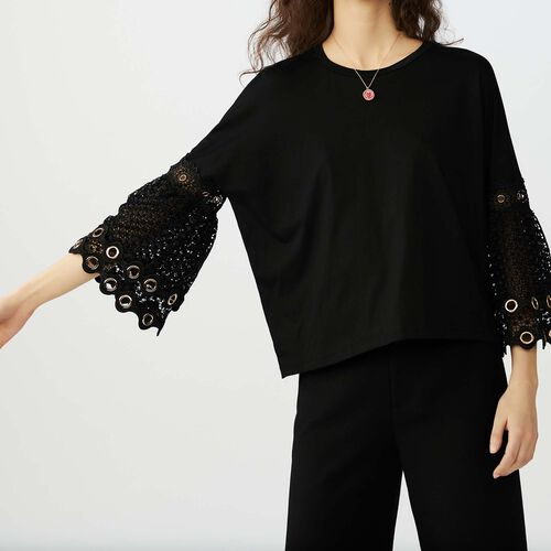 T-shirt with eyelet and mesh : T-Shirts farbe Schwarz