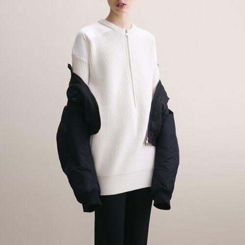 Kleid mit Nylon-Einsätzen : Robes farbe Ecru