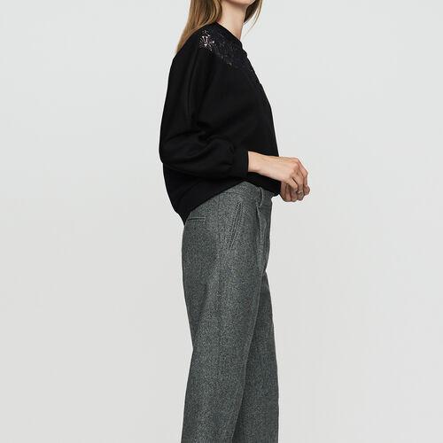 Bundfaltenhose aus Mischwolle : Office girl farbe Grau