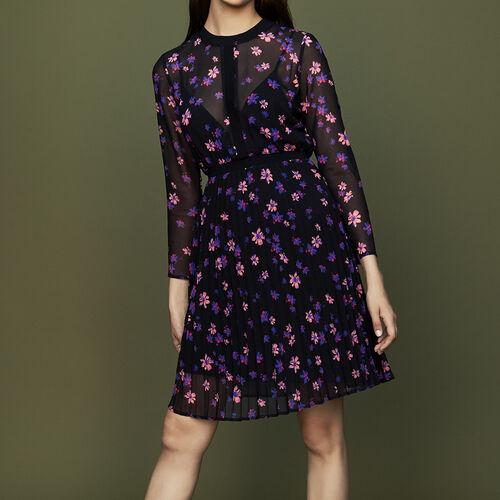 Bedrucktes Kleid mit Plissee-Unterrock : null farbe IMPRIME