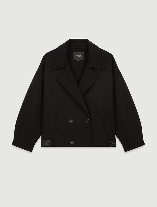 Blouson aus Doubleface und Kunstleder : Mäntel & Jacken farbe Schwarz