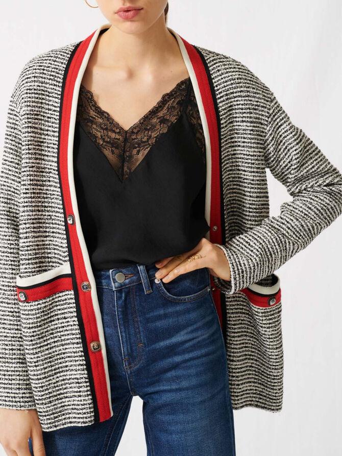 Tweed-Cardigan mit farbigen Streifen - Die ganze Kollektion - MAJE
