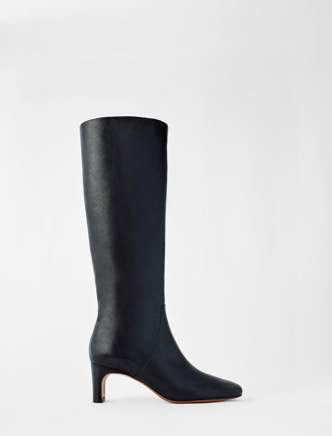 Lederstiefel mit Midi-Absatz - Stiefel & Boots - MAJE