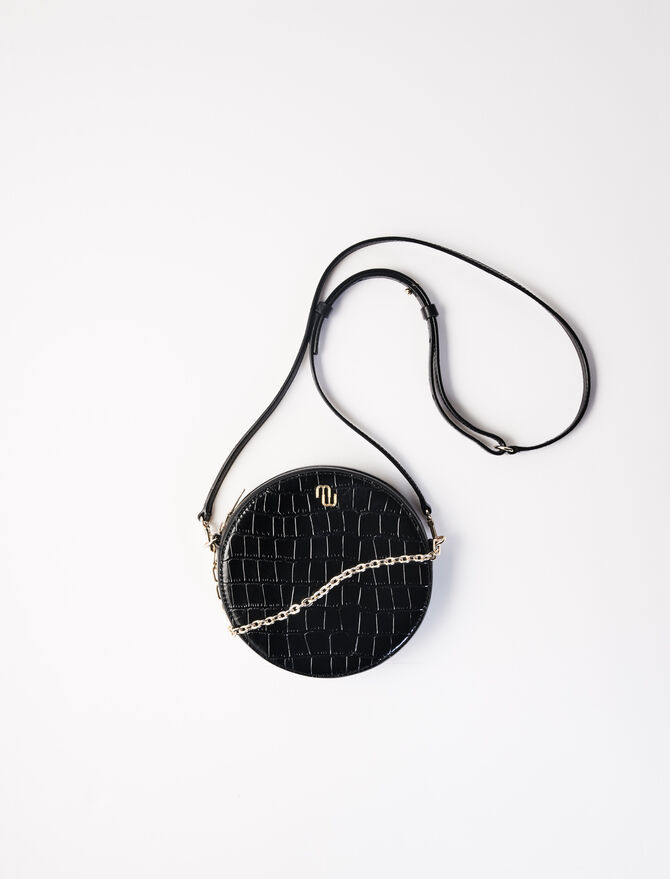 Runde Tasche aus geprägtem Leder -  - MAJE
