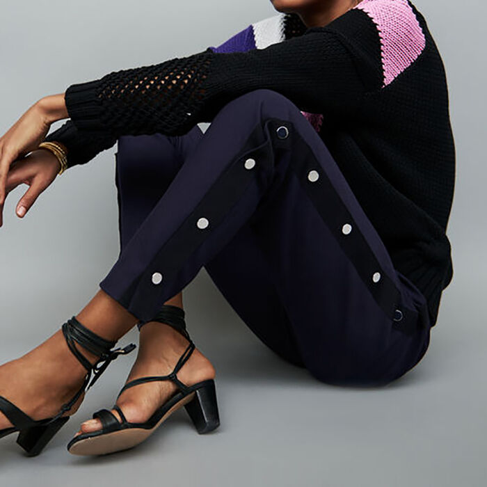 Loose Fit Hose mit Druckknöpfen : Hosen farbe Marineblau