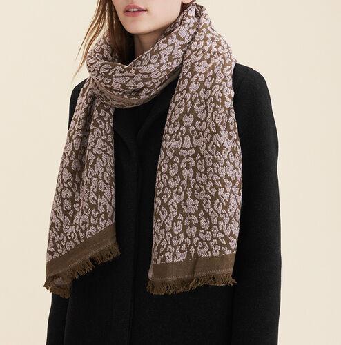 Schal mit Leopardendruck : Accessoires farbe Hellrosa