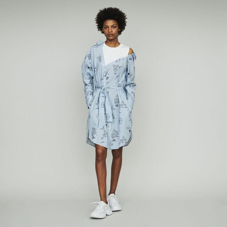 Trompe-l'Oeil-Hemdkleid mit Print : Kleider farbe Blau