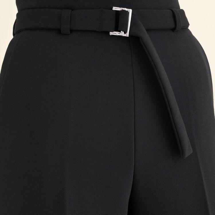 Weite Hose mit hoher Taille : Hosen farbe Schwarz