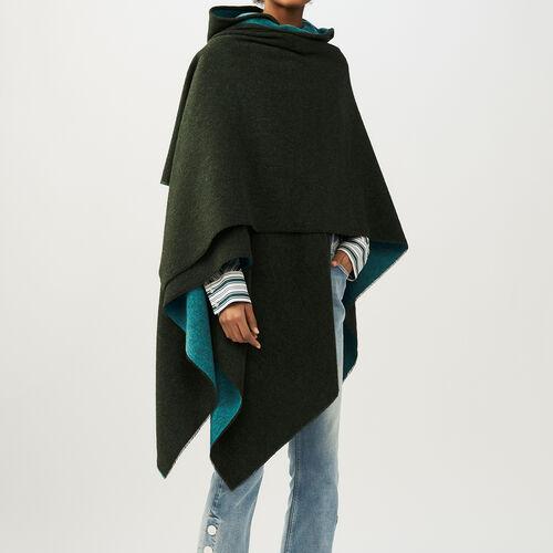 Poncho mit wendbarer Kapuze : Schals & Ponchos farbe Khaki
