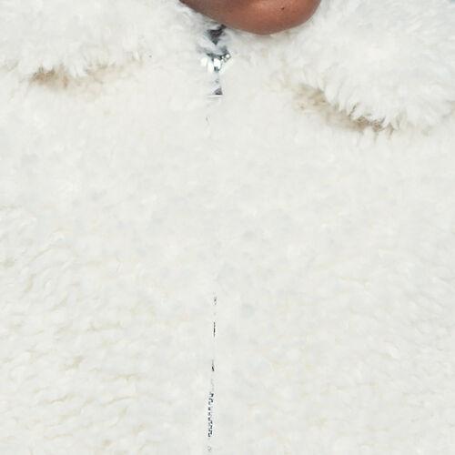 Kurze Kunstfelljacke in Wildlederoptik : Jacken farbe Weiss