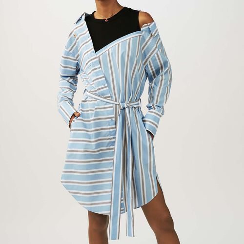 Striped dress with t-shirt plain color : Kleider farbe Himmelblau