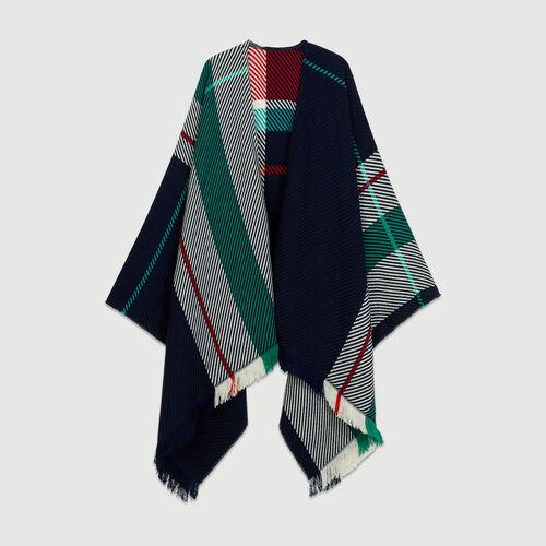 Poncho aus Jacquard-Strick : Schals & Ponchos farbe Blau