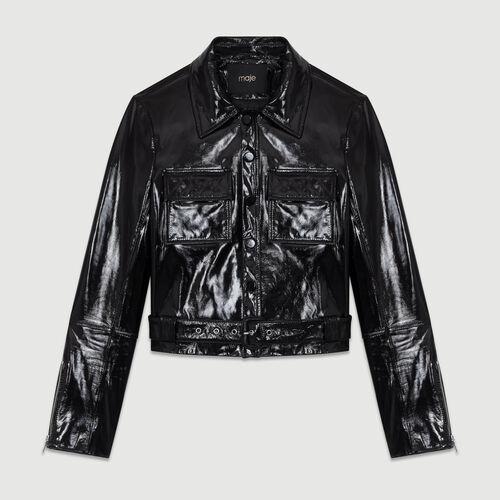 Kurze Jacke aus Vinylleder : Leder farbe Schwarz