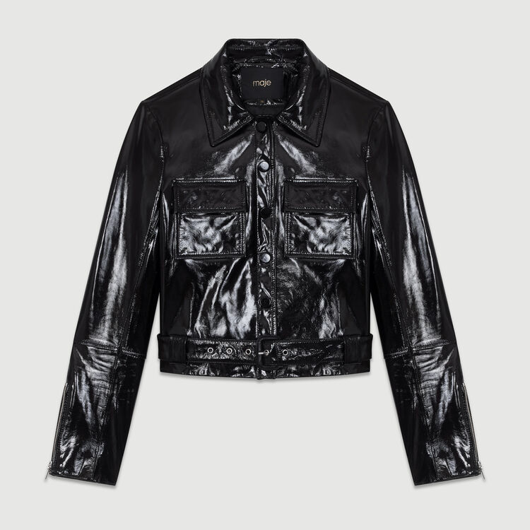 Kurze Jacke aus Vinylleder : Bekleidung farbe
