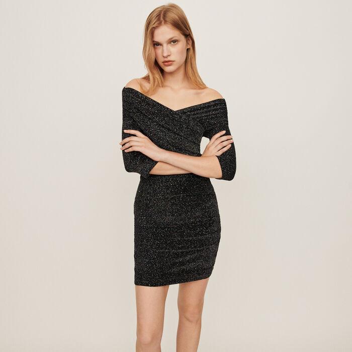 Drapiertes Stretch Kleid mit Lurex : Kleider farbe Mehrfarbigen