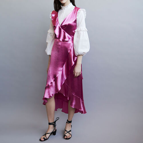 Ruffle satin evening dress : Kleider farbe Fuchsiafarben