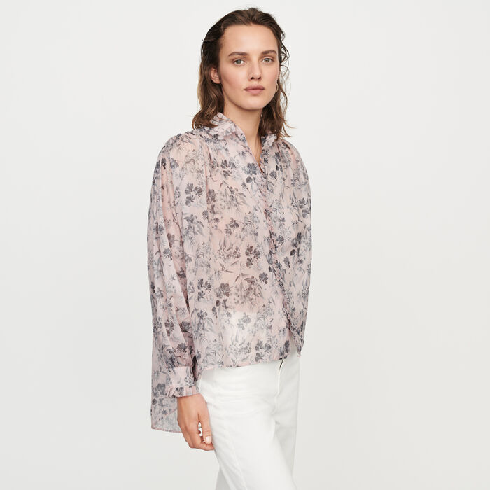 Bluse aus bedruckter Baumwolle-Voile : Tops & Hemden farbe LILA