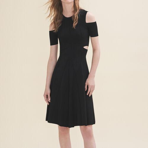 Strickkleid mit freien Schultern : Robes farbe Schwarz