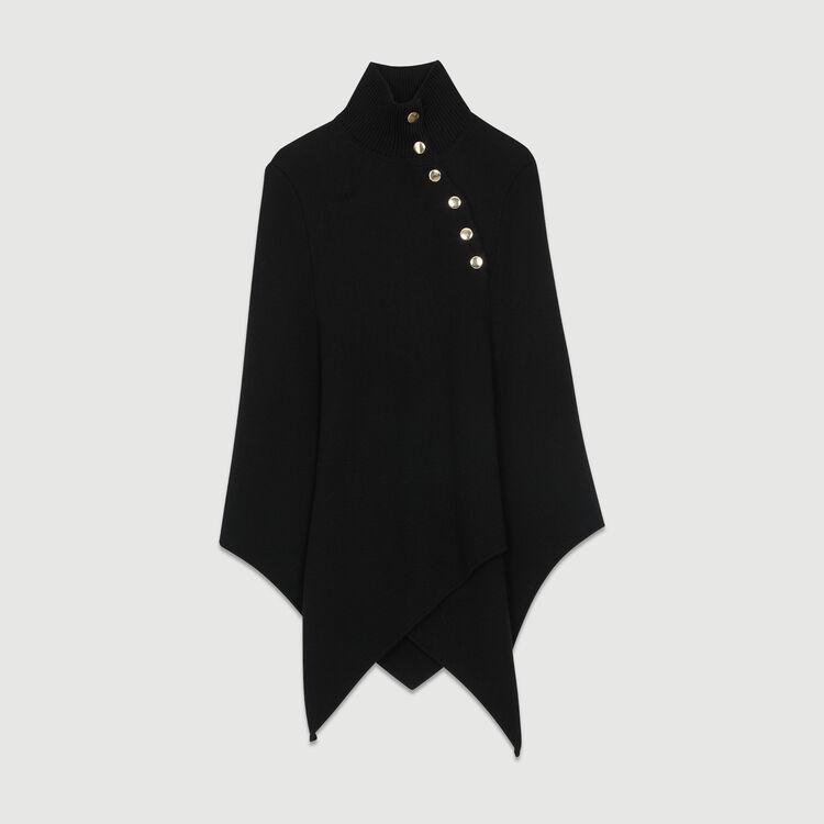 Poncho mit Stehkragen aus Mischwolle : Strickwaren farbe Schwarz