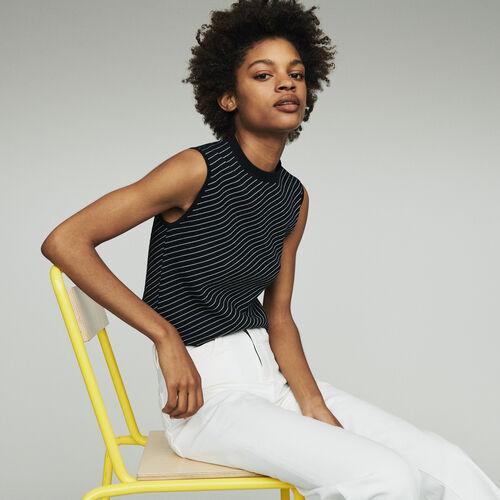 Kurzärmeliger Pullover mit Streifen : Pullover & Strickjacken farbe Gestreift