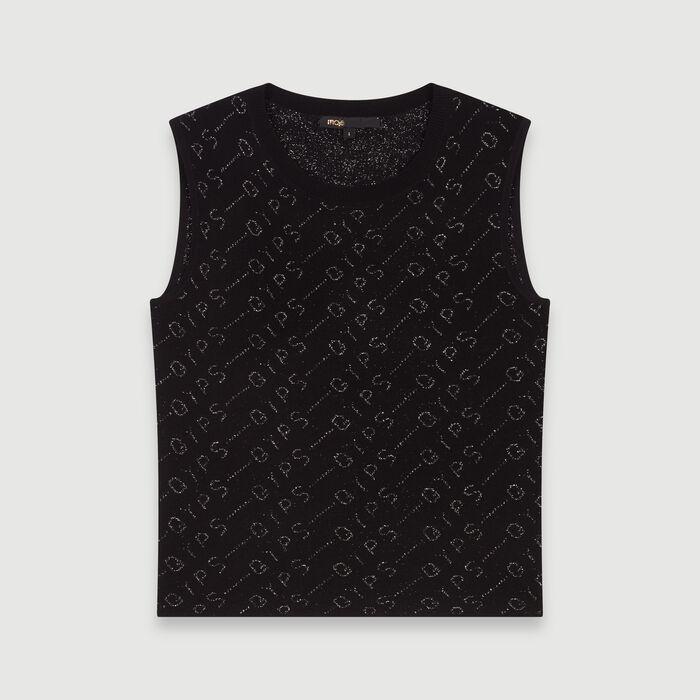 Schulterfreier Pullover aus Jacquard : Pullover & Strickjacken farbe Schwarz