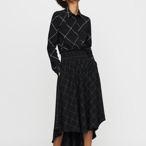 Asymmetrisches Hemdkleid mit Karos : Kleider farbe CARREAUX