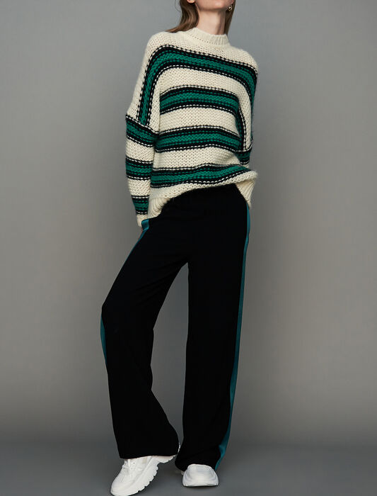 Dreifarbiger Oversize-Pullover : Neue Kollektion farbe Grün