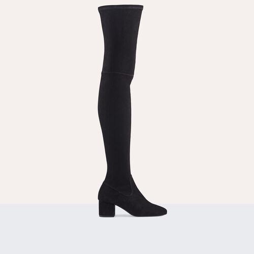 Flache Overknee-Stiefel aus Veloursleder : Schuhe farbe Schwarz