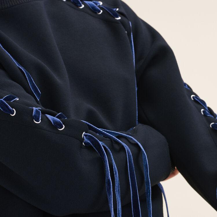 Sudadera de felpa con lazada : Pulls & Cardigans farbe Schwarz