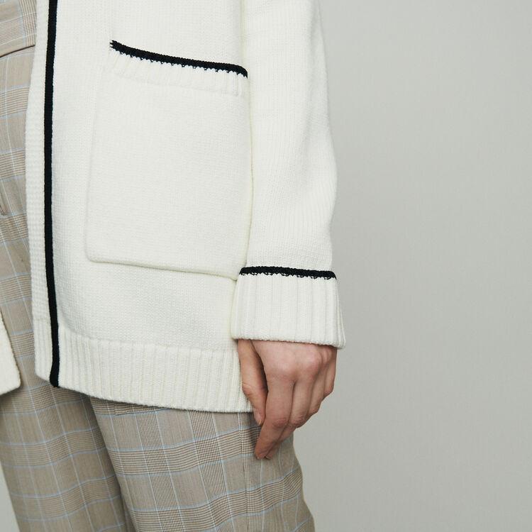 Mittellanger Cardigan mit Rändern : Pullover & Strickjacken farbe ECRU
