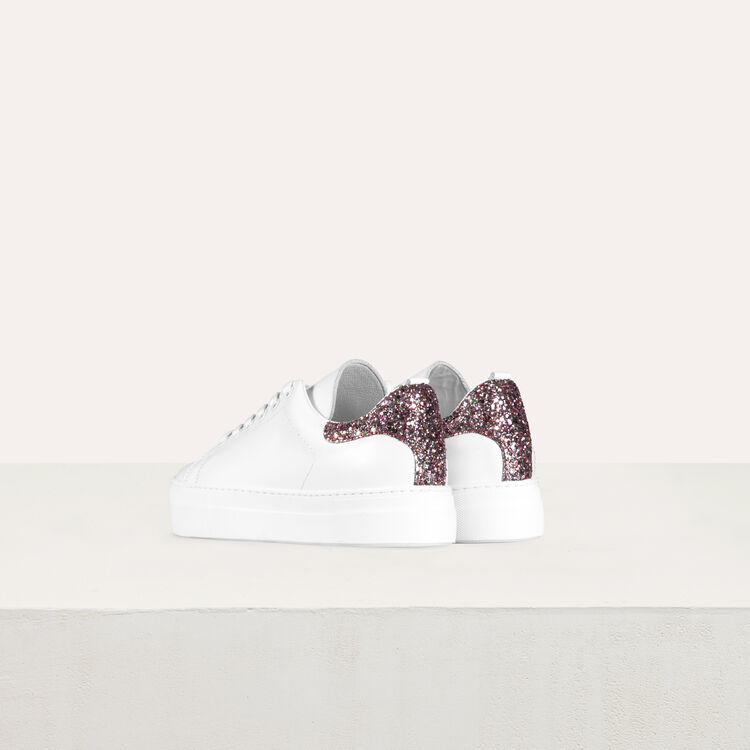 Leder-Sneakers mit Pailletten : Sneakers farbe Weiss
