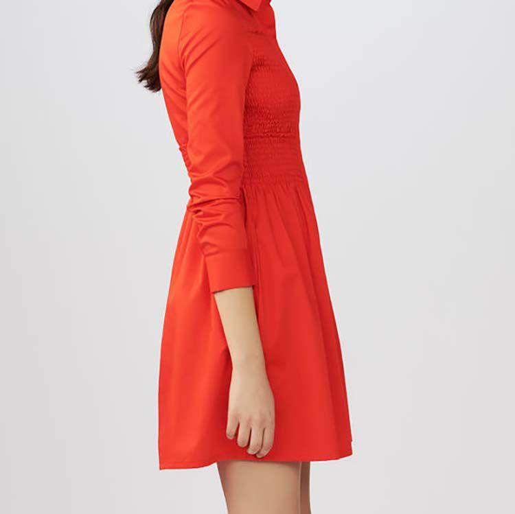 Hemdkleid mit Fältchennäherei : Kleider farbe Rot