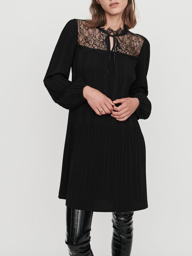 Plissee Kleid mit Spitze - Kleider - MAJE