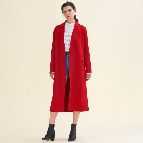 Langer Mantel aus Doubleface-Wolle : Manteaux farbe Rot