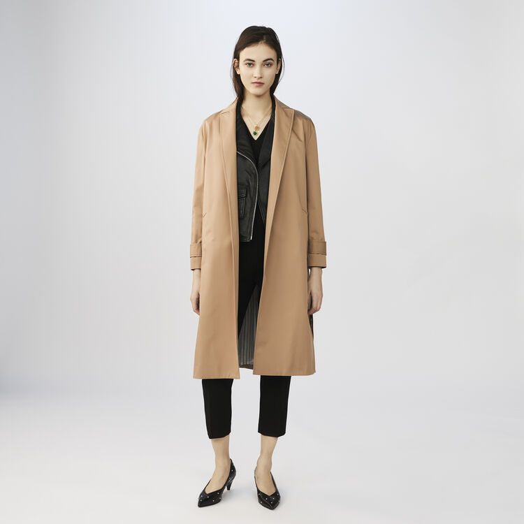 Trenchcoat aus Baumwolle : Mäntel farbe BEIGE SABLE