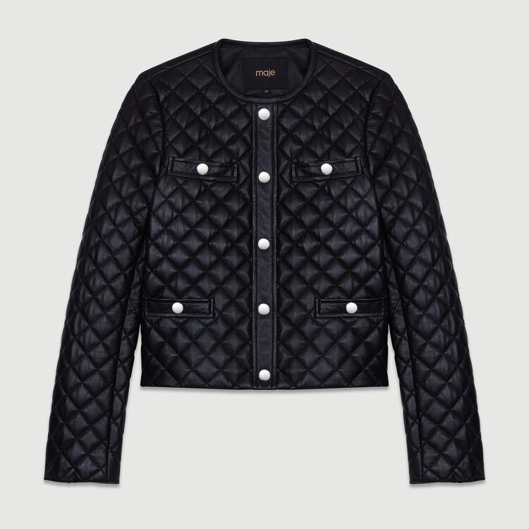 Jacke aus gestepptem Leder : Jacken farbe SCHWARZ