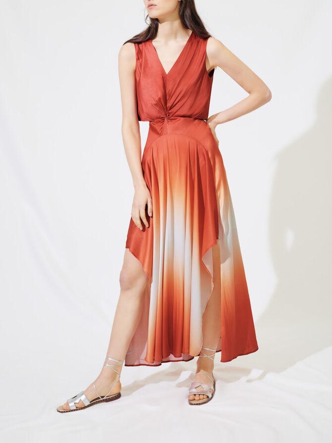 Foulard-Kleid aus Satin in Tie&Dye-Optik - Kleider - MAJE