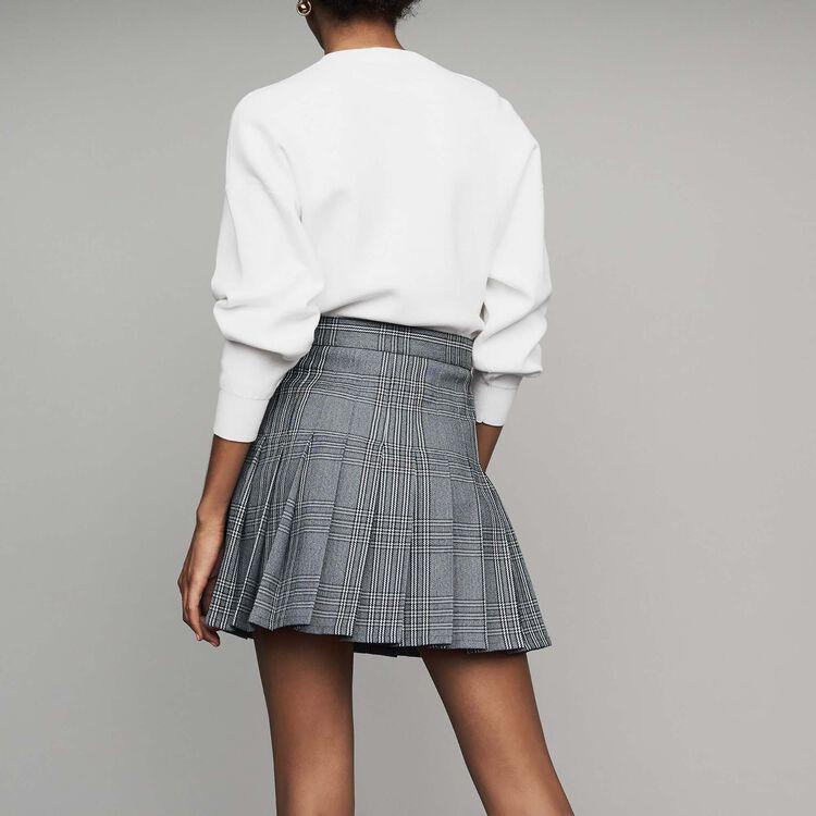 Plissee-Trompe-l'oeil-Short aus Jacquard : Röcke & Shorts farbe CARREAUX