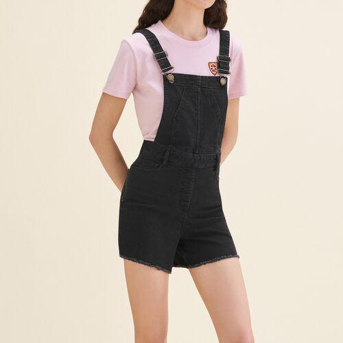 Latz-Shorts aus Denim : Röcke und Shorts farbe Schwarz