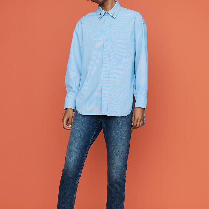 Oversize-Hemd mit doppeltem Kragen : Hemden farbe Himmelblau