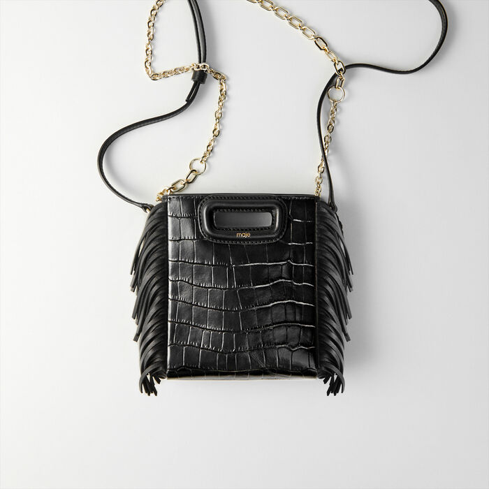 Mini embossed-leather M bag with chain : M Mini farbe Schwarz